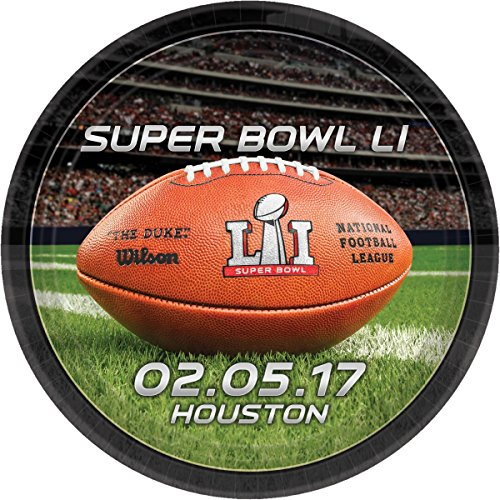 NFL Super Bowl 51 9 Inch Party Plates, 8-Count (Wax Paper De Li)