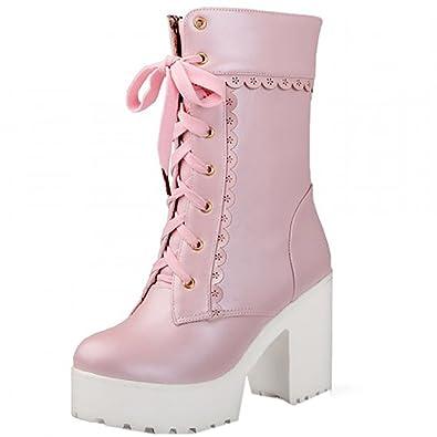 Partiss Damen Sweet Lolita Shoes Suess Lace Boots High-Top PU Stiefel Prinzessin College Winter Boots Cosplay Schlupfstiefel Lolita Schnuerstiefel,36,Black