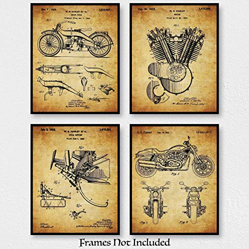 Original Harley Davidson Motorcycle Patent Art Poster Prints - Set of 4 (Four) 8x10 Unframed - Wall Decor For Garage, Repair Shop, Bar - Great Gift For Bikers And Hog Riders