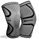BLITZU Flex Plus Compression Knee Brace for Joint Pain, ACL MCL Arthritis Relief Improve Circulation Support for Running Gym Workout Recovery Best Sleeves Patella Stabilizer Pad (Small, Gray)
