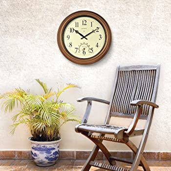 AcuRite 50314 18-Inch Metal Indoor/Outdoor Atomic Clock and Thermometer