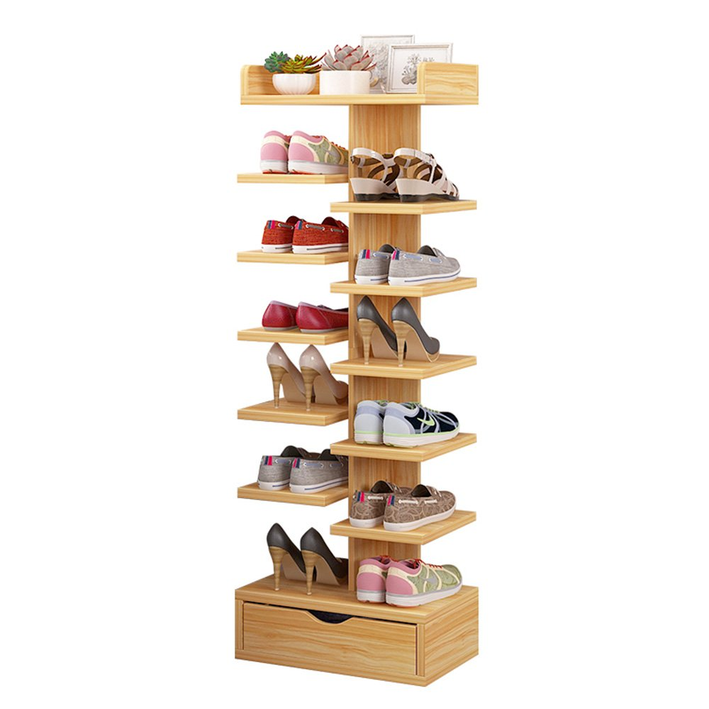 ZR- Shoe Rack Simple Household Multifunction Economic Type Space Saving Shoebox Multi-layered Shoe Rack (Color : Walnut, Size : 272461cm)