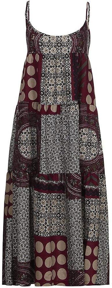 US:4, Red Pervobs Women Summer Loose Dresses Strappy Bohe Maxi Print Sleeveless Long Dress Vestido Plus Size
