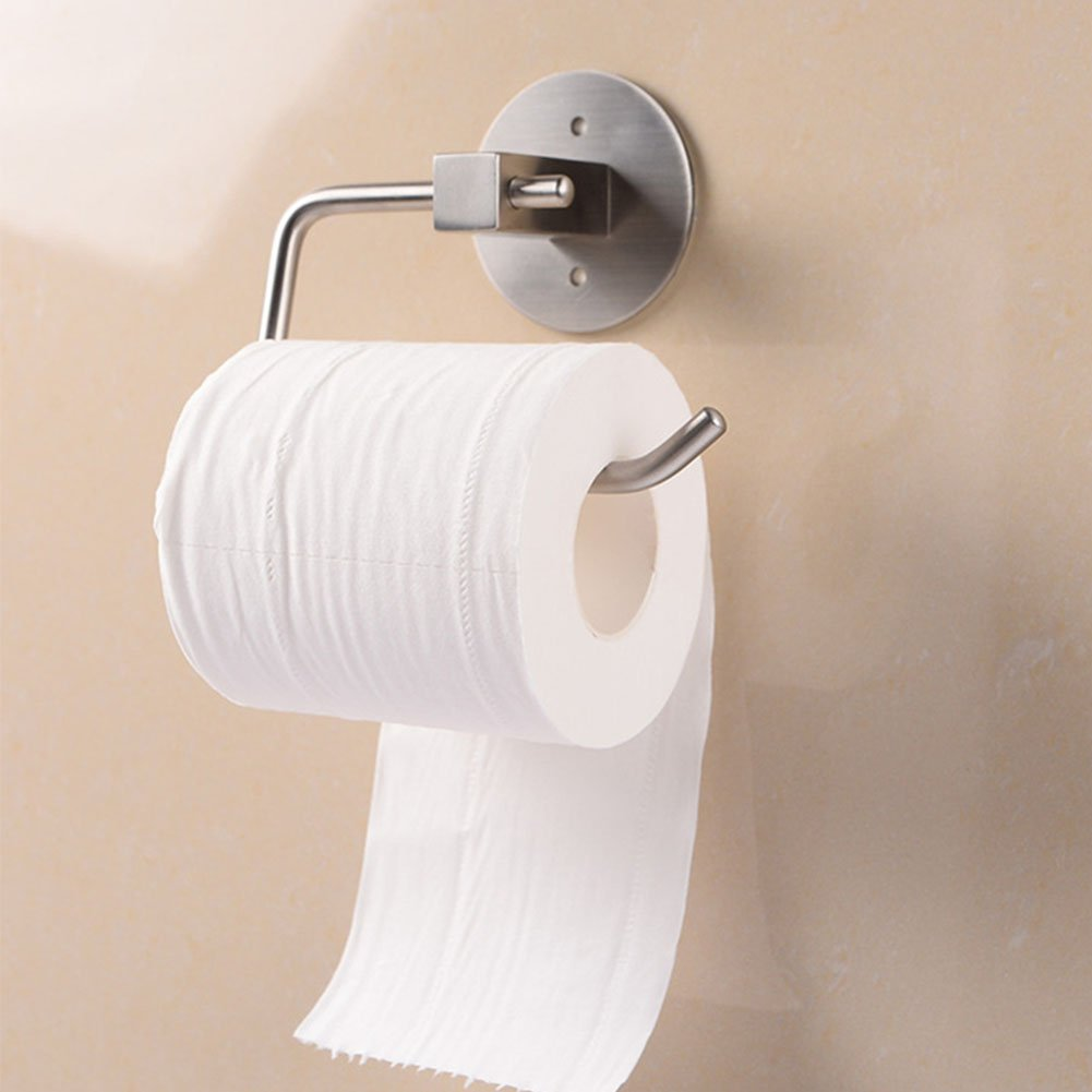 Etbotu Wall Mounted Adhesive Stainless Steel Toilet Paper Holder,No Need Drilling Holes