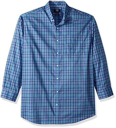 (Cutter & Buck Men's Medium Plaid and Check Easy Care Button Down Collared Shirts, Bolt Charlie, 2X Tall)