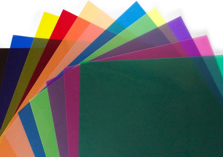 LimoStudio 12 x 12 11pcs Color Gel Lighting Filter Transparent Color Film Plastic Sheets for Camera Flash Light AGG2556