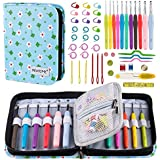 BONTIME Crochet Hooks Set - 11 Pieces Ergonomic Crochet Hooks with Portable Case, Contains All The Crochet Accessories Fit Any Projects, Ideal for Crocheters with Arthritic,Clover Print