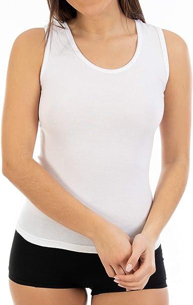 Camiseta Interior de Mujer L461, de algodón con elastán y Tirante Ancho. Cómoda y Adaptable. Pack Ahorro de 6 Unidades de la Misma Talla y Color.: Amazon.es: Ropa y accesorios