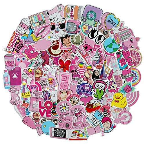 100pcs Cool Cute Pink Girl Waterproof Stickers -Young Teen Girl Stickers, Idea for Luggage Skateboard Laptop Luggage Suitcase Book Covers etc (Cute Girl) -