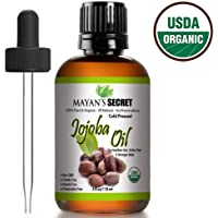 USDA Organic Jojoba Oil, 100% Pure (4oz Large) | Natural Cold Pressed Unrefined Hexane Free Oil for Hair & Face | Carrier Oil - Certified Organic | Mayan's Secret 90 Days Warranty