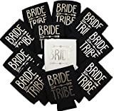 11pc Set of Bride Tribe & Bride Drink Coolers for Bachelorette Parties, Bridal Showers & Weddings - 4mm Thick Bottle Cooler Sleeves aka Can Coolies aka Beverage Insulators (11pc Set, Black)