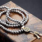 Outdoor Stainless Steel 108 Buddha Beads Necklace