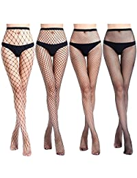 Fairydreamy Women Fishnet High Waist Tights Suspender Pantyhose Stockings