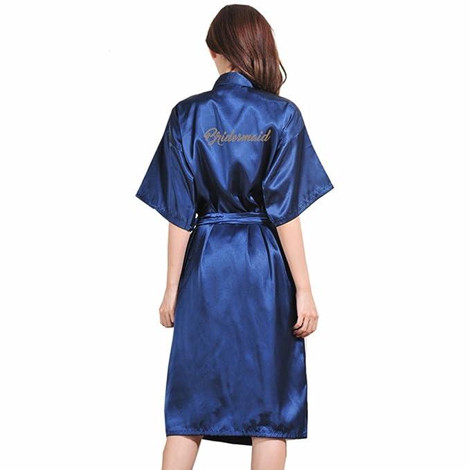 BOYANN Dama de Honor Estampado en Caliente Ropa de Dormir Sexy Batas y Kimonos de Satén: Amazon.es: Ropa y accesorios