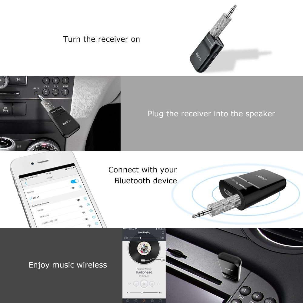 Car Bluetooth Receiver Wireless Portable Audio Adapter 3.5mm Aux Stereo Output Wireless Car Kit Portable Wireless Audio Adapter 3.5mm Aux Stereo Output Wireless Car Kits