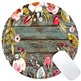Wknoon Round Mouse Pad Custom, Vintage Hand Drawn Floral Wreath Art on Rustic Wood