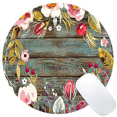 Wknoon Round Mouse Pad Custom, Vintage Hand Drawn Floral Wreath Art on Rustic Wood