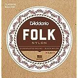 D'Addario EJ32 Folk Nylon Guitar Strings, Ball End, Silver Wound/Black Nylon Trebles
