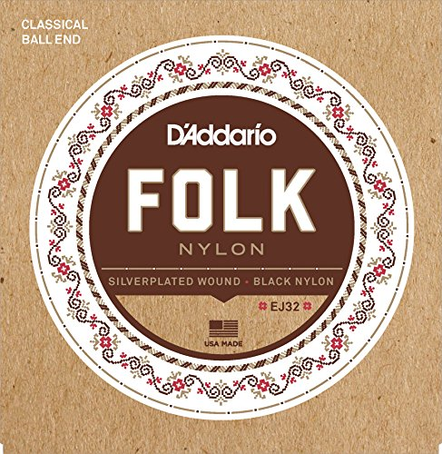 Acoustic Tie Guitar Strings - D'Addario EJ32 Folk Nylon Guitar Strings, Ball End, Silver Wound/Black Nylon Trebles