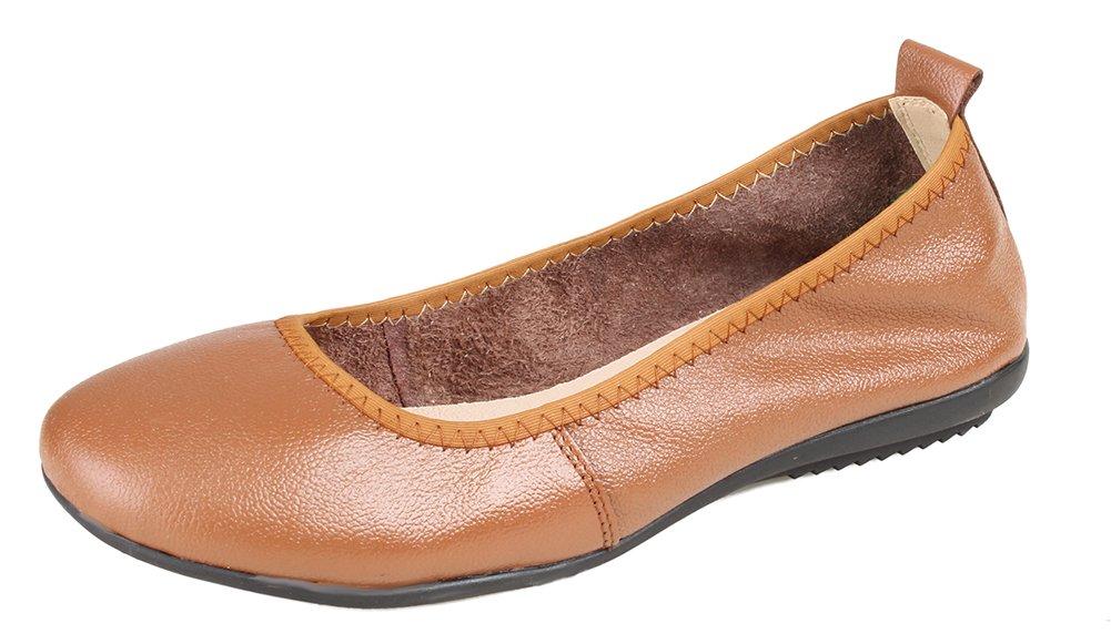 052c4c1f515 Kunsto Women s Genuine Leather Loafer Ballet Flats US Size 9 Brown   Amazon.com.au  Fashion