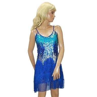 e131e17fe4b4e スパンコール 衣装 フリンジ付き ダンス ワンピース ドレス (ブルー)