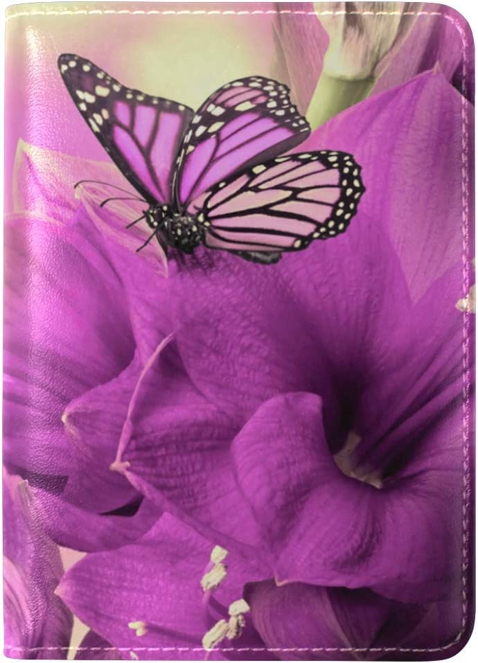 Flower Insect Petals Leather Passport Holder Cover Case Travel One Pocket