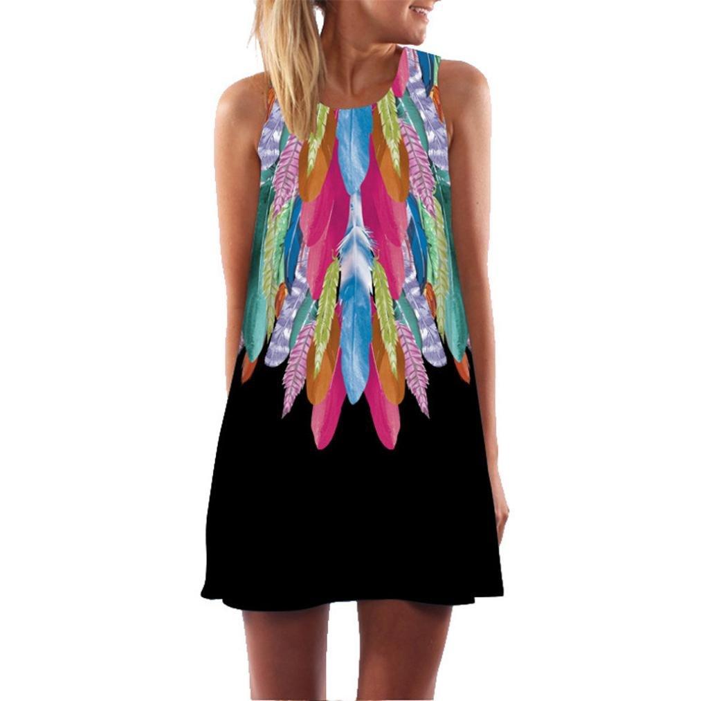 Clearance! Todaies Womens Summer Dress Casual O-Neck Boho Sleeveless 3D Floral Printed Beach Mini Dress (M, Black)