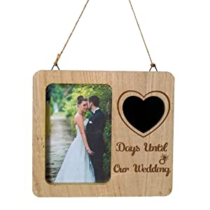 Homyl Wedding Countdown Couple Photo Picture Frame Anniversary Engagement Wedding Gifts - Heart Blackboard, as described
