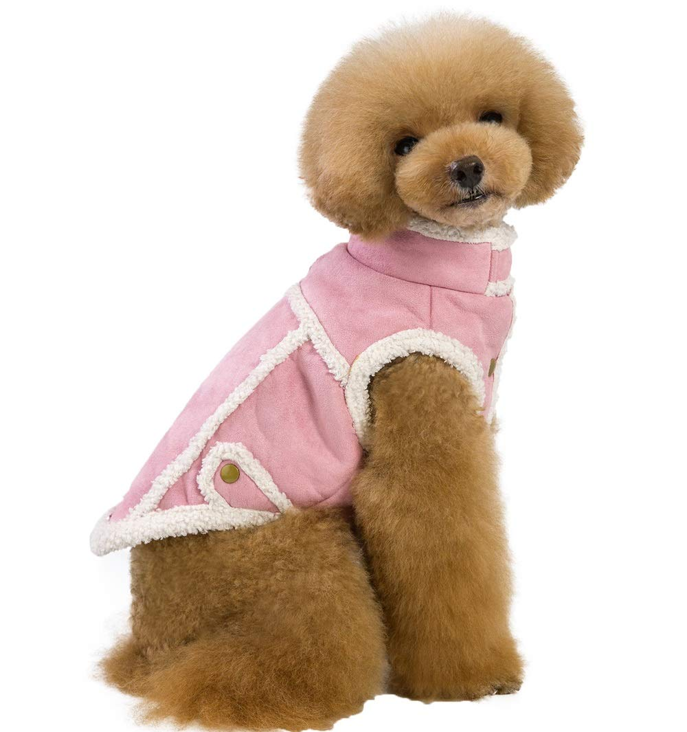 Pink M pink M QBLEEV Cold Weather Coat Vest for Dogs,Cozy Pet Winter Jacket Clothes Snowsuit Outwear Apparel Costumes Sherling Warm Windproof Faux Suede Fleece