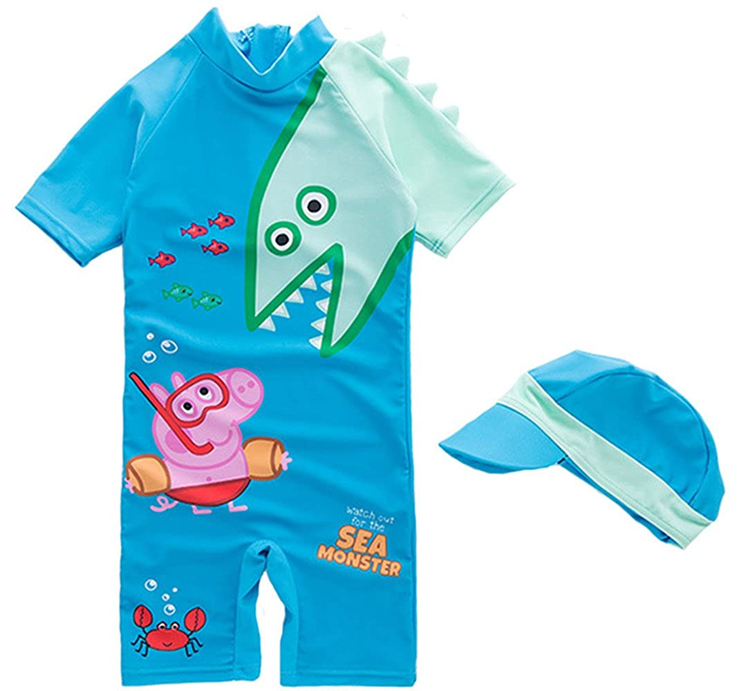 Baby Boy Cartoon Peppa Pig Shark Swimsuit Surfing Suit with Hat F278