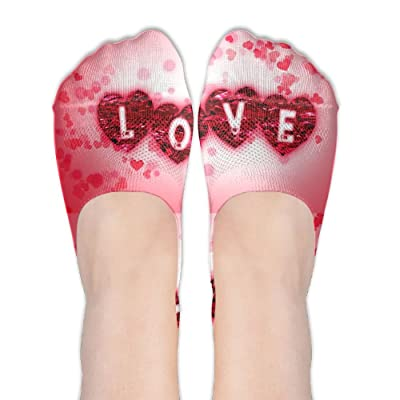 Low Cut Socks Valentines Day Love Art Printed Soft No-show Liner Invisible Polyester Cotton Sock For Girls & Womens , One Pair