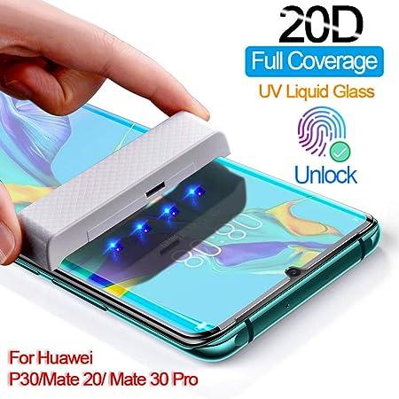 Protector de Pantalla de Pegamento UV para Huawei Mate 30 20 Pro Vidrio Templado Full Cover