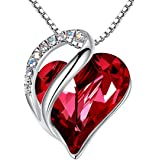 Leafael Infinity Love Heart Pendant Necklace with Birthstone Crystals for 12 Months, Jewelry Gifts for Women, Silver-Tone, 18