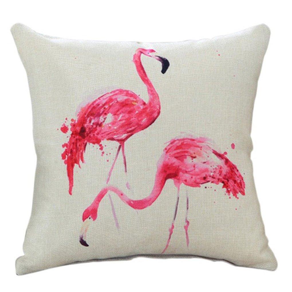 Bigsweety Cute Cartoon Flamingo Pillow Case Bed Sofa Waist Cushion Cover Home Car Decor (Balloon Flamingo) TangRen