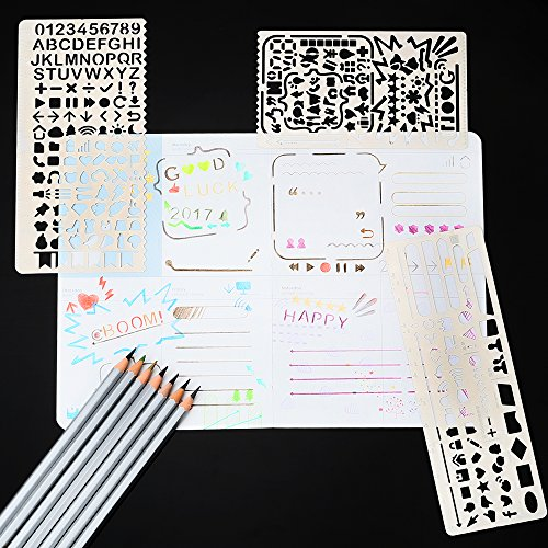 Gimars All Metal Easy to Draw Large Cut Hole Metal Bullet Journal Stencil Set Planner Stencil with Pouch for Journaling, Scrapbooking, Card and Art Projects