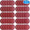 AUSTOR 50 Pieces 8 Holes Sanding Discs, 5 Inch Hook and Loop 40/ 60/ 80/ 100/ 120/ 150/ 180/ 240/ 320/ 400 Grit Sandpaper Assortment for Random Orbital Sander