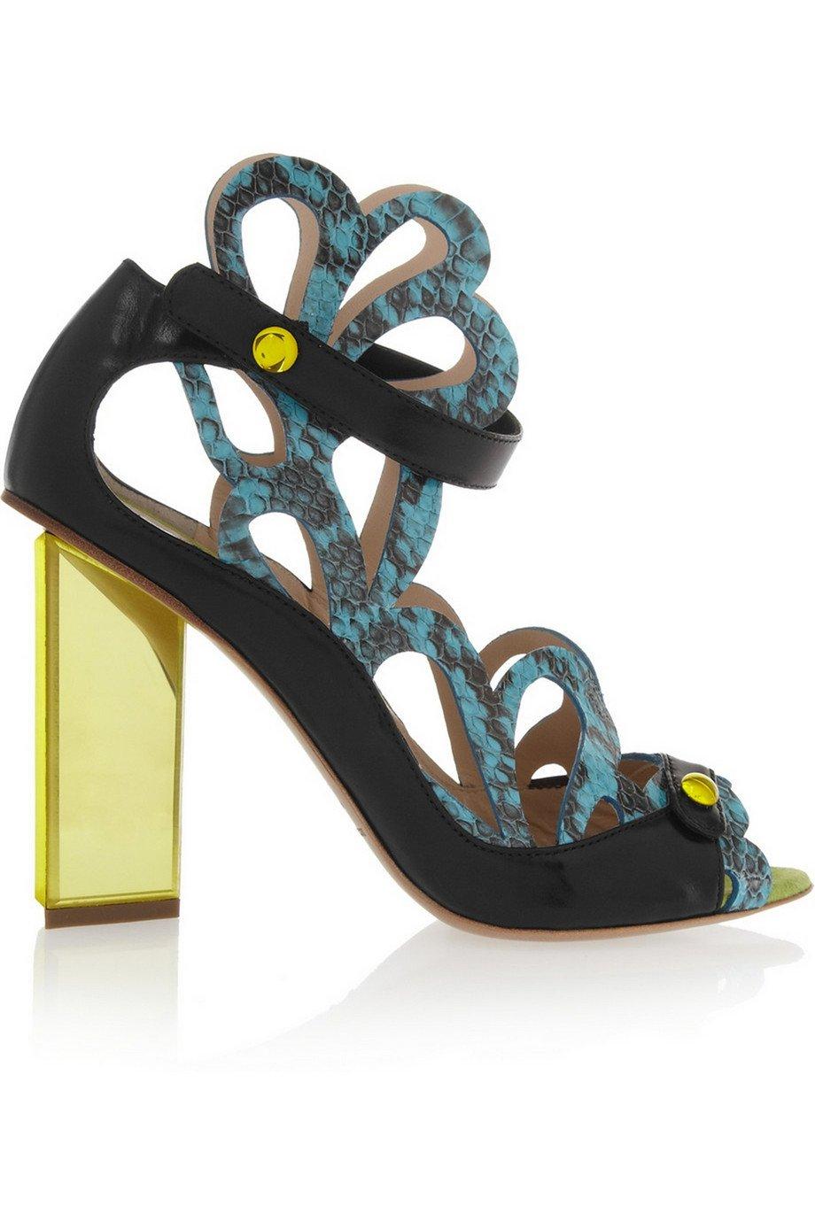 Nicholas Kirkwood Laser-cut Snake Pumps 6 Black/Turq/Yellow
