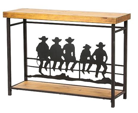 Amazoncom Cowboys On The Fence Wood and Metal Hall Table