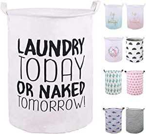 """SEAFOWL 19.7"""" Collapsible Laundry Basket,Waterproof Round Canvas Large Clothes Basket Laundry Hamper with Handles, Cute Cartoon Kids Nursery Laundry Basket,Baby Gift. (Today)"""