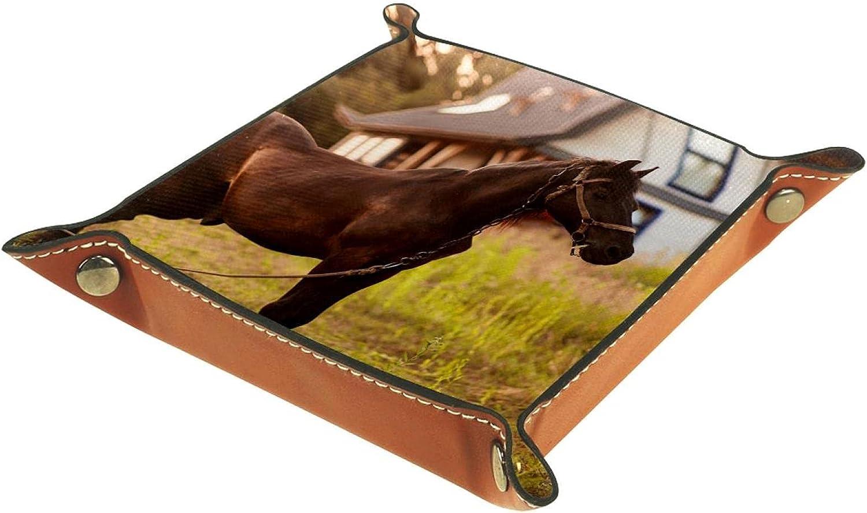 Bandeja de cuero para hombres y mujeres, organizador de escritorio personalizado para joyas, cosméticos, gafas, cartera, oficina, uso en el hogar, caballo marrón