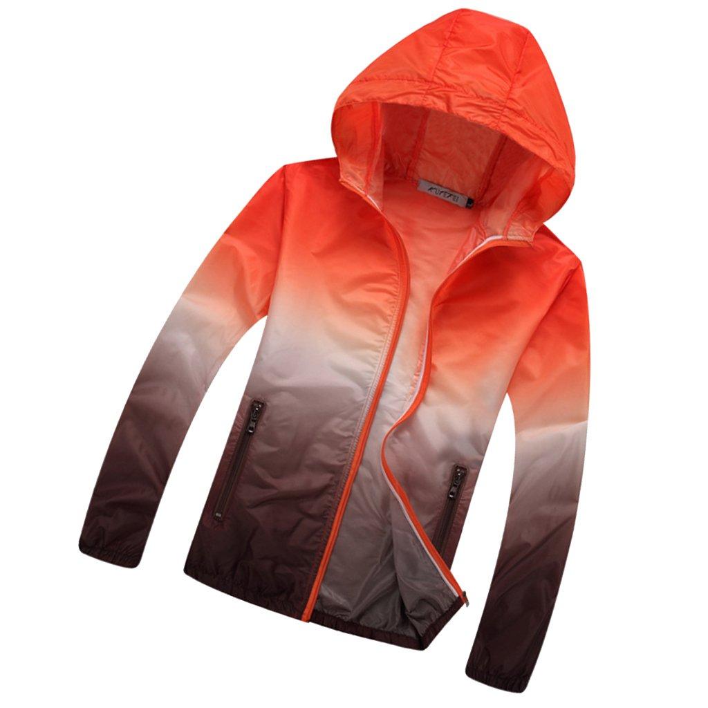 Sharplace Unisex Anti-uv Activewear Giacca A Vento Ad Asciugatura Rapida Sportiva Giacca Cappotti - Arancione marrone, XL