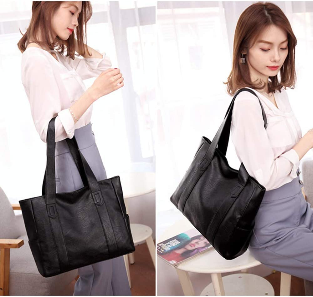 Suitable for Office Tote Bag School ALTINOVO Shoulder Bag Womens Large-Cap pu Handbag Black Simple Shopping Bag