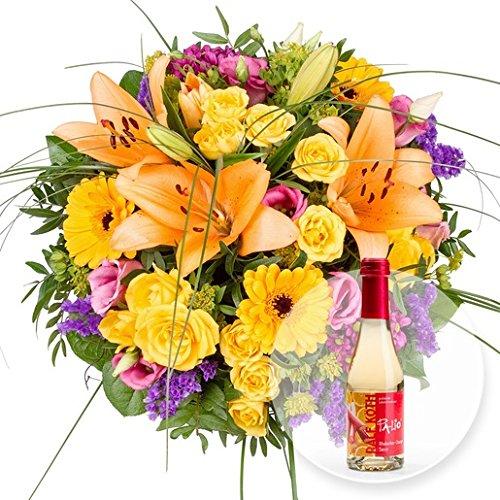 Blumenstrauß Daylight und Rhabarber-Orangen-Secco