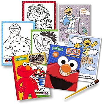 sesame street coloring books set color by number paint with water with paintbrush - Sesame Street Coloring Books