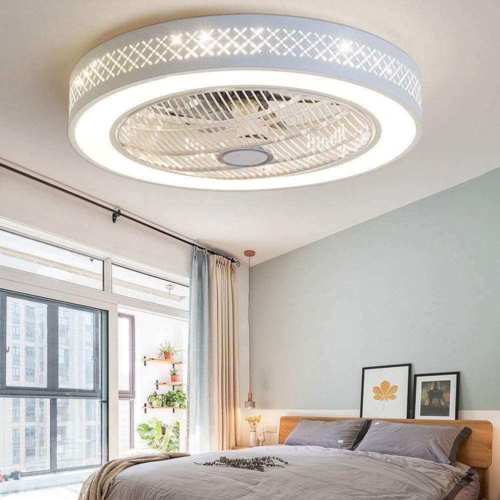J.GH Ventilador de Techo LED Moderna con Ventilador de iluminación remota de Silencio y regulación Dormitorio encender la lámpara del Techo del Ventilador de Sigilo Que Viven,White