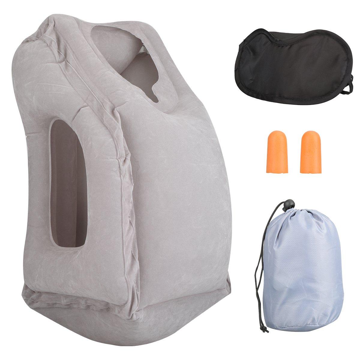 Almohada de viaje almohadilla de aire inflable con tapones para los oídos