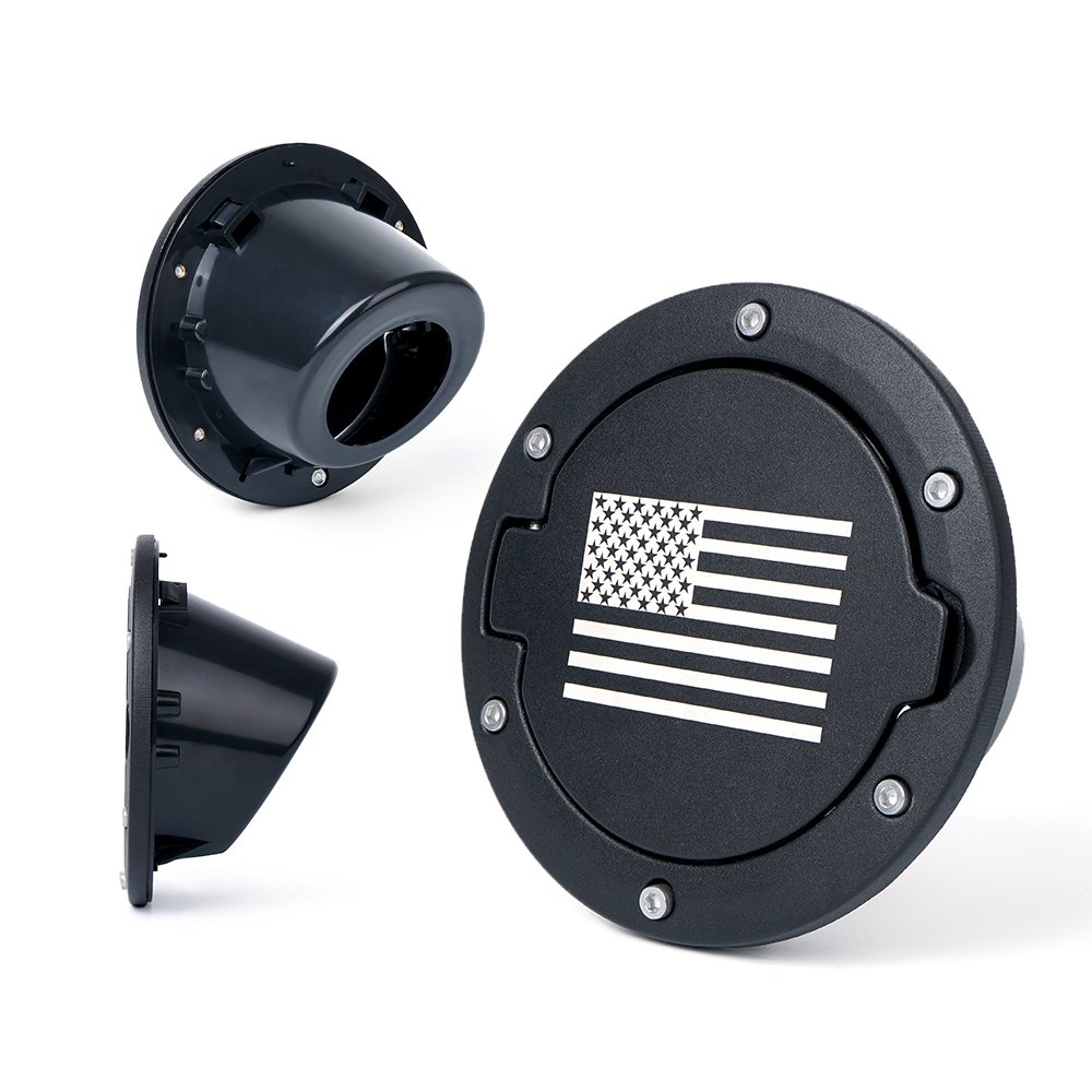 Xprite Black Mini American Flag Fuel Filler Door Cover Gas Tank Cap for 2007-2018 Jeep Wrangler JK JKU ZS-0045-FLAG