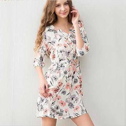 BXYR Pijama Pijama de Punto Simple para Mujer, Camisón de Algodón, Camisón de Verano