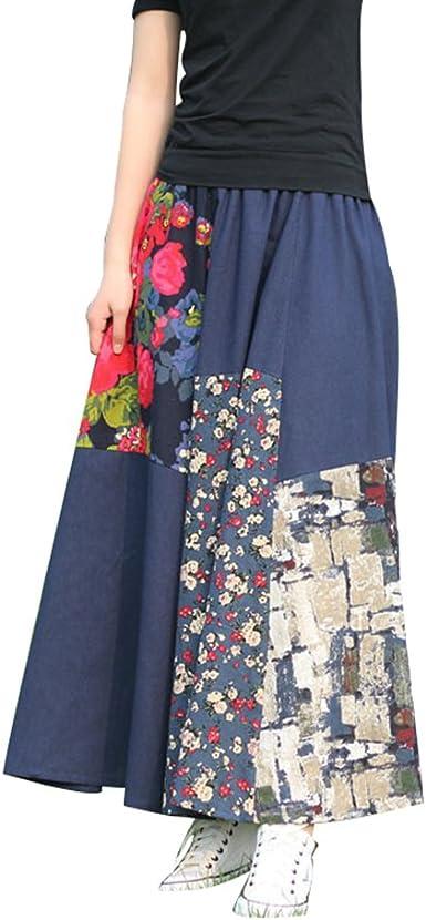 NiSeng Mujer Faldas Estampadas Falda Larga Vintage Falda A ...