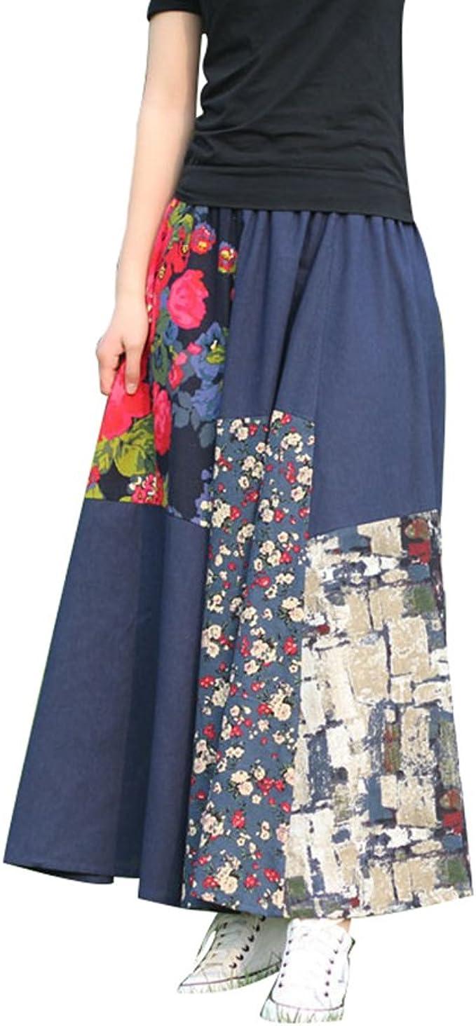 NiSeng Mujer Faldas Estampadas Falda Larga Vintage Falda A-Line ...